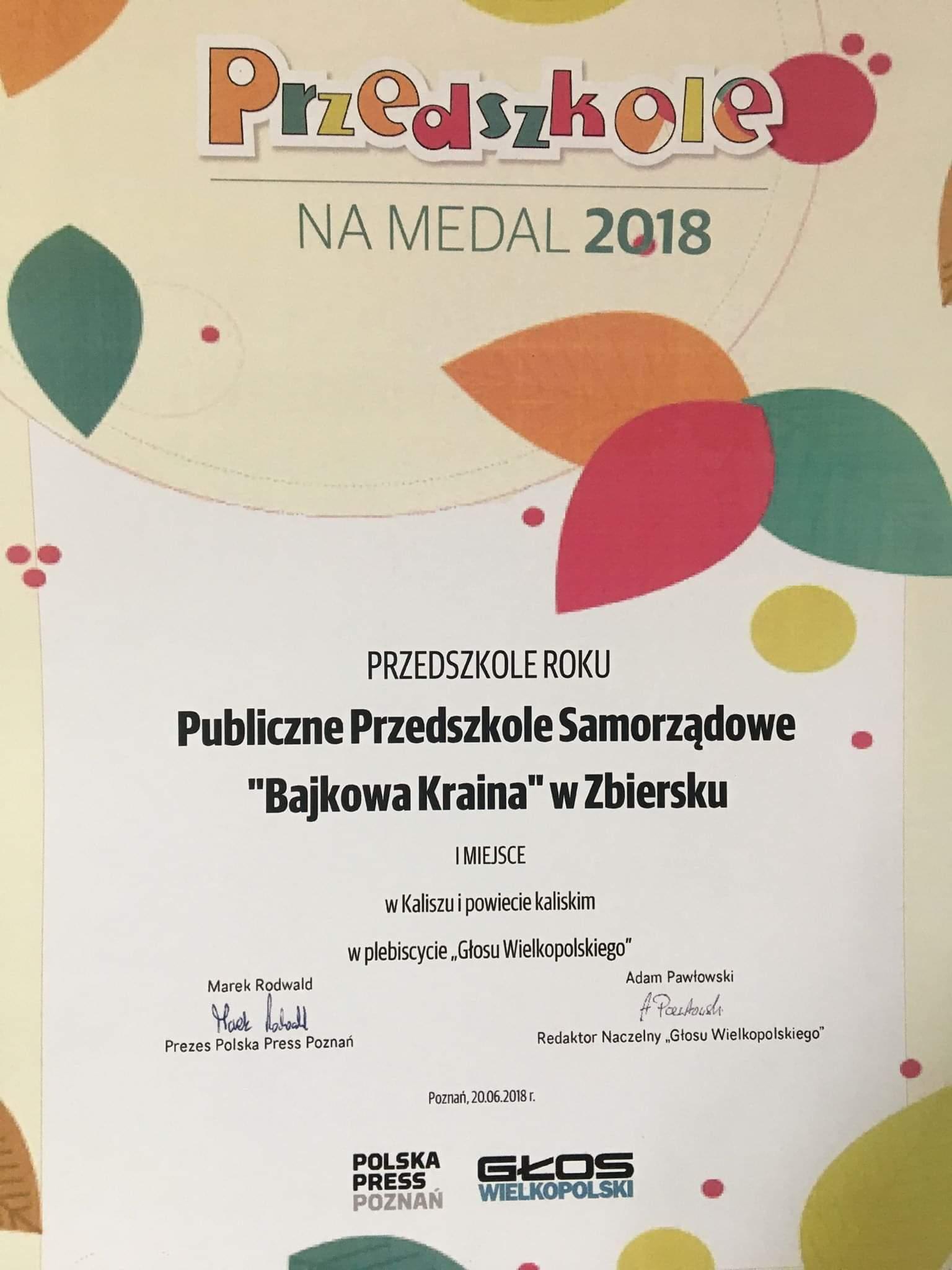 Otrzymaliśmy prestiżowy certyfikat Przedszkole na Medal!